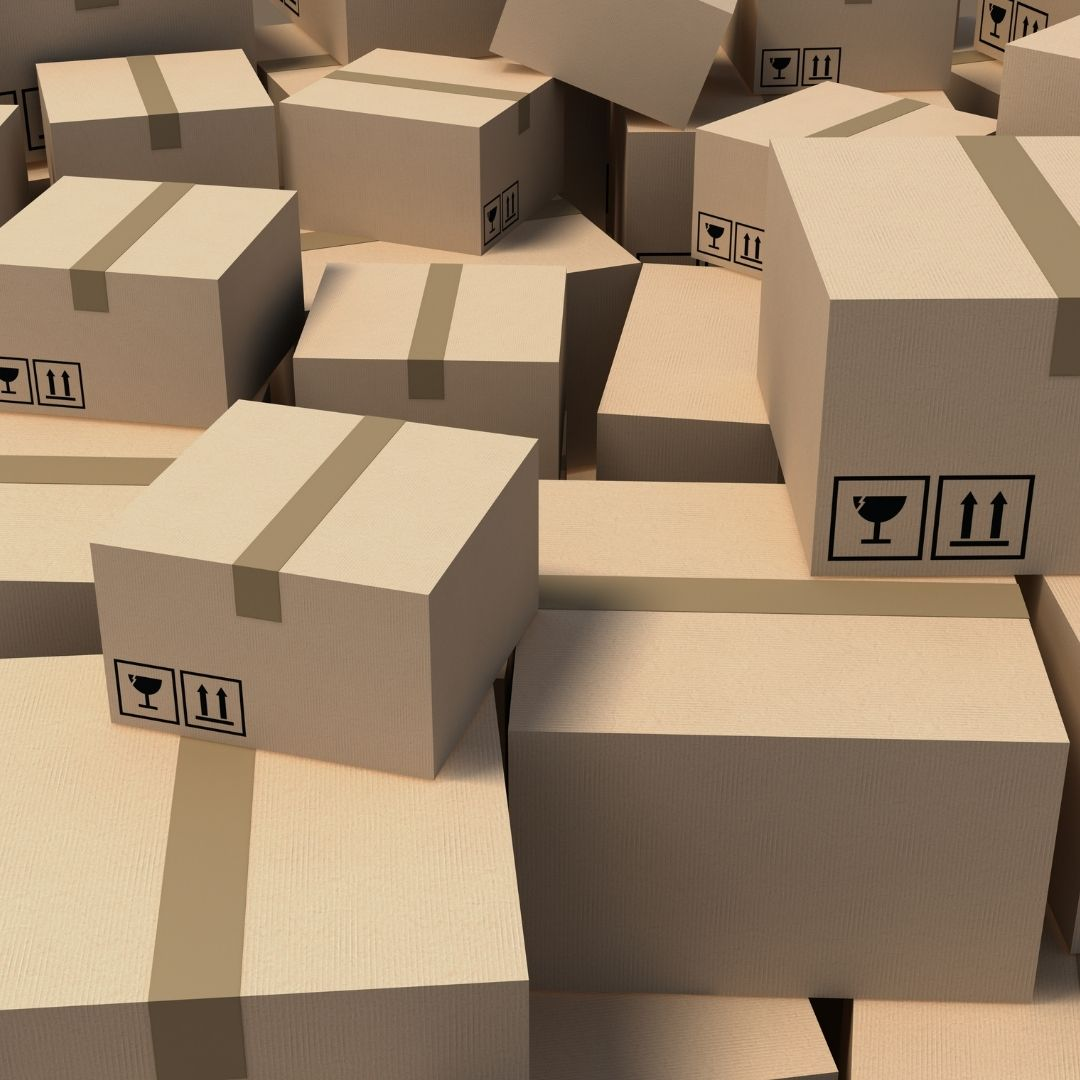 mess of cardboard boxes